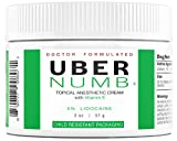 Uber Numb 5% Lidocaine Topical Anesthetic Cream Advanced Formula Rapid Absorption Non-Oily (2 Ounce (CR))
