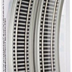 Bachmann Trains – Snap-Fit E-Z TRACK 18″ RADIUS CURVED TRACK (4/card) – NICKEL SILVER Rail With Gray Roadbed – HO Scale 41HNQHpig8L