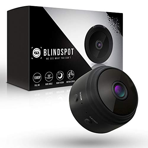 BLINDSPOT Home Protection Mini Security Camera | Safe & Portable Wireless Hidden SpyCam with 150° Lens, Motion Sensor, Night Vision & HD 1080p Recording | USB Adapter, SD Card Reader & Magnetic Mount
