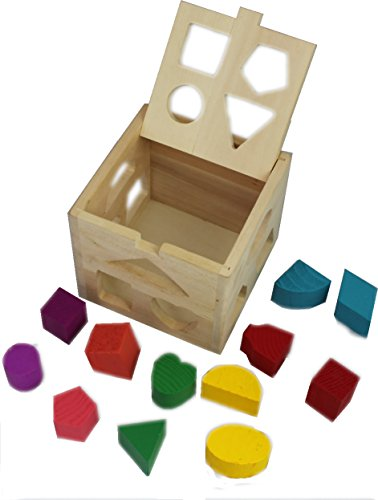 Baby Block Toy Box : Wooden shape sorting box cube square baby first blocks toy