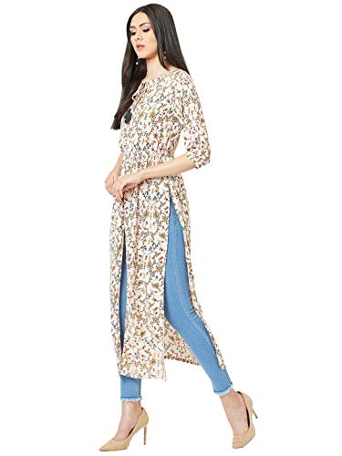 Miss chase women's multicolored round neck 3/4th sleeves floral tie-up tassel detailing side and front slit maxi top | latest news live | find the all top headlines, breaking news for free online april 5, 2021