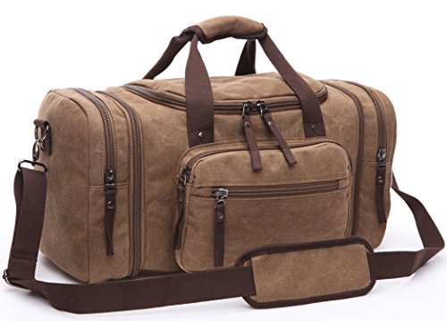 Canvas Duffel Bag, Aidonger Vintage Canvas Weekender Bag Travel Bag Sports Duffel with Shoulder Strap (Coffee)