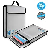 Vemingo Fireproof Bag 2000 ℉ Water Resistant Document Holder 15.8' x 12.6' x 3' Non-Itchy Silicone Coated Fireproof Safe Storage for Money, Documents, Jewelry, Passport and Laptop