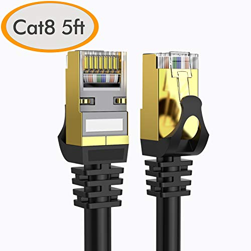 Cat 8 Ethernet Cable 5 ft - Lastest and Fastest (40Gpbs) Lan RJ45 Patch cord, Solid Cat8 Highest Speed Computer Internet Network cable for Router, Modem, POE Switches, Servers, Hub, Gaming - 1.5 Meter