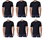 Kirkland Men's Crew Neck White T-Shirts 100% Combed Heavyweight Cotton (Pack of 6) (Black, XX-Large)