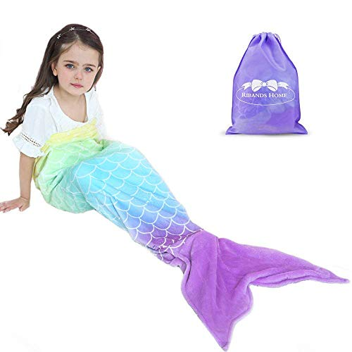 RIBANDS HOME Cozy Mermaid Tail Blanket for Kids and Teens Soft Flannel Fleece Wrapping Cover with Colorful Ombre Fish Tail - All Seasons Plush Sleeping and Napping Coverlet (Ages 3-16)