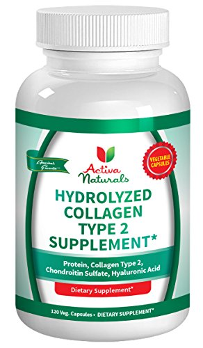 Activa Naturals Collagen Type 2 Hydrolyzed 1000mg Supplement with Chondroitin Sulfate & Hyaluronic Acid - 120 Veg. Caps