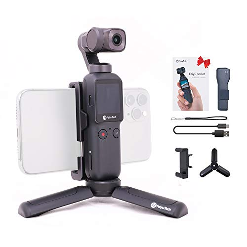 Feiyu-Pocket-Handheld-Video-Camera-3-axis-Gimbal-Stabilizer-FeiyuTech-Integrated-4K-for-Live-Video-Record-FaceObject-TrackingMotion-TimeLapse-fits-AndroidiOS-Smartphone-with-TripodPhone-Holder