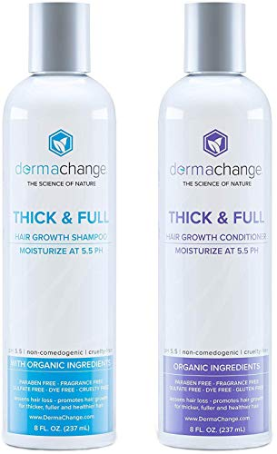 Organic Vegan Natural Hair Growth Shampoo and Conditioner Set - Sulfate Free - Hair Regrowth With Vitamins - Hair Loss Products - Color Treated or Curly Hair - For Women and Men (8oz) - Made in USA