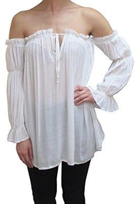 5fc89ae80701af Anna-Kaci Womens Semi Sheer Boho Peasant Long Sleeve Off The Shoulder Top