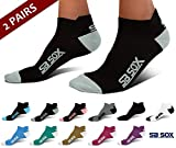 SB SOX Ultralite Compression Running Socks for Men & Women (2 Pairs) - Perfect Option to Our Compression Socks - Best No-Show Socks for Running, Athletic, Everyday Use (Black/Gray, Large)
