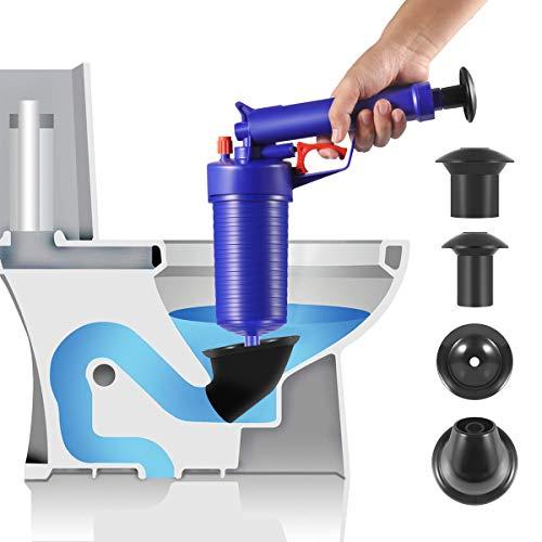 Toilet Plunger, Air Drain Blaster, Pressure Pump Cleaner, High Pressure Plunger Opener Cleaner Pump for Bath Toilets, Bathroom, Shower, Sink, Bathtub, Kitchen Clogged Pipe (Blue-new)