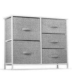 5 Drawer Dresser Organizer Fabric Storage Chest for Bedroom, Hallway, Entryway, Closets, Nurseries. Furniture Storage…