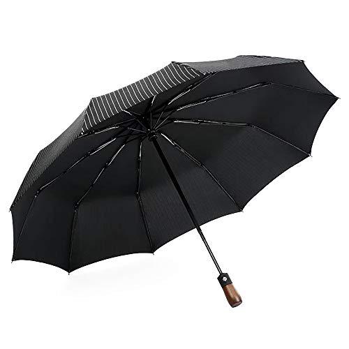 Wahtien Compact Folding Travel Umbrella Windproof Waterproof Automatic Umbrella Large Ten Bone Reinforcement Wind Resistant fine rain Amphibious Men and Women fold