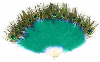 Zucker Feather Marabou Fan with Peacock Plastic Staves, Dark Aqua