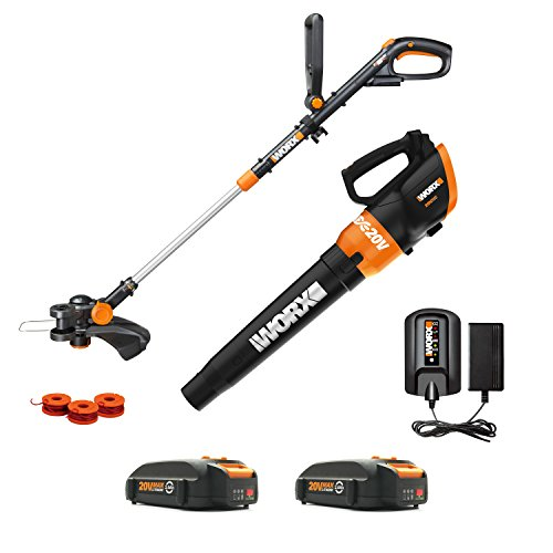 Worx WG954 20V Revolution Grass Trimmer/Edger and Turbine Blower Combo Kit with two 20V (2.0Ah) Batteries, Charger