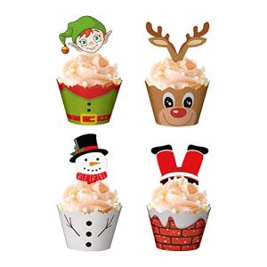 NUOBESTY Christmas Paper Cupcake Wrappers With Cupcake Toppers for Christmas Party Supplies,48 Pack(24 Wrappers + 24 Toppers) 41I JlDOuEL