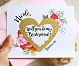 Bridesmaid Scratch Off Cards. Bridesmaid Cards. Will You Be My Bridesmaid Gold Heart Scratch Off Card - 1 Card with 1 Pale Pink Envelope