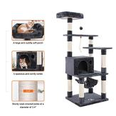 FEANDREA-Cat-Tree-Condo-Multi-level-Cat-Tower-with-Scratching-Posts-Kitten-Furniture-Play-House-Grey-UPCT88G