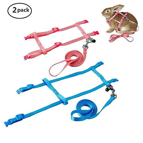 PERSUPER 2 Pack Pet Rabbit Harness Leash for Soft Nylon,Running,Walking Jogging Harness Leash with Safe Bell for Bunny, Cat, Kitten,Ferret, Puppy and Other Small Pet Animals 1