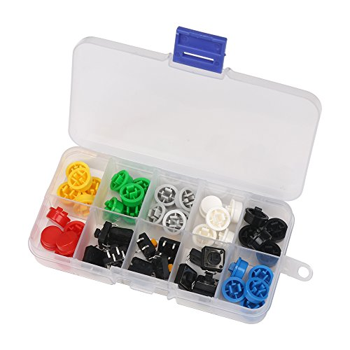 50pcs - Tactile Push Button with Keycaps and Storage Box