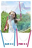 WhizBuilders Giant Bubble Wand Pack of 4 Outdoor Water Toys for Kids, Birthday Activity and Party Favor Wands to Make Bubbles