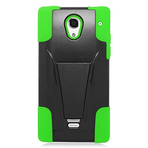 Eagle Cell Sharp Aquos Crystal Hybrid Case with Y Stand - Retail Packaging - Green/Black
