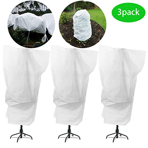 "Alpurple 3 Packs Winter Drawstring Plant Covers - 47"" X 31.5"" Warm Plant Protection Cover Bags, Frost Cloth Blanket Protecting Fruit Tree Potted Plants from Freezing Animals Eating"