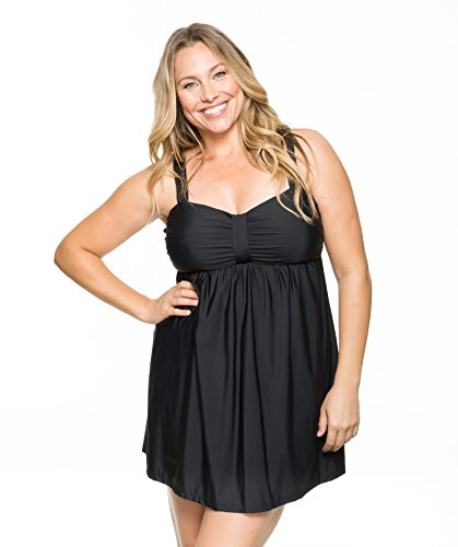 41IGAcLJWsL Swim dress with empire bodice and concealed attached pant Wide adjustable straps Back with cutout and S-hook closure