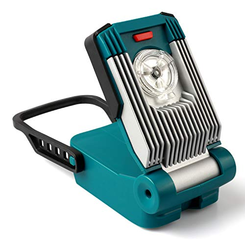 Portable LED Work Light Battery Powered, Enegitech 14.4V / 18V 9W 420LM Mini Cordless Floodlight for Jobsite Car Maintenance Power Outage, Powered for Makita LXT Batteries (Not Included)