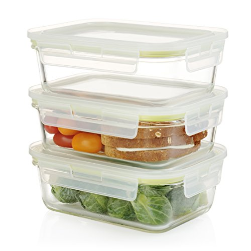 Komax Oven Safe Rectangular Glass Food Storage Containers - Microwave & Freezer Safe - Airtight Lunchbox with Snap Locking Lids - BPA FREE - 3 Piece Set (35 oz)