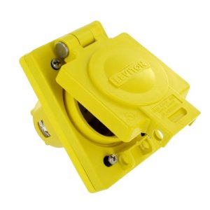 Leviton 66W49 IP66 Rated Cover, Corrosion Resistant, NEMA L7-20, Locking, 20A, 277V, 2P, 3W, Grounding, Wetguard Single Inlet, Yellow