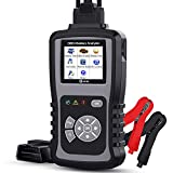 Kzyee KM301 2-in-1 Car Diagnostic Tool, Check Engine Light Code Reader for OBD2 Vehicles, 100-2000 CCA Battery Tester with Cranking and Charging Systems Analyze
