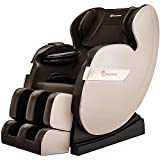 Real Relax 2020 Massage Chair, Full Body Zero Gravity Shiatsu Recliner with Bluetooth and Led Light, Brown and Khaki