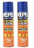 2 Pack Repel Permethrin Clothing & Gear Insect Repellent Aerosol Spray, 6.5-Ounce each bottle, Repels and Kills Ticks, Mosquitoes, Mites