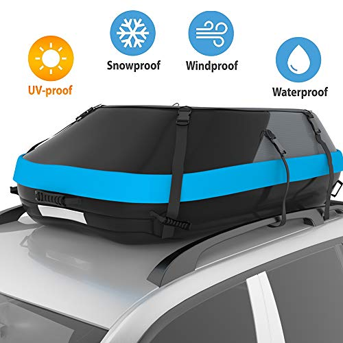 STDY 20 Cubic Feet Rooftop Cargo Top Carrier Bag,Travel Cargo Bag Box Storage Luggage by Waterproof 600-Denier Polyester Material-with Easy to Install Straps-Soft Shell Luggage Rack Bag (20 Cubic)