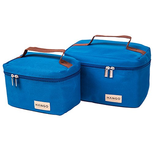 Hango Insulated Lunch Box Cooler Bag (Set of 2 Sizes), Blue