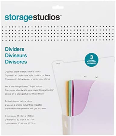 Storage Studios Tabbed Dividers with Labels 3/Pack, 12.25 x 12.88 Inches, Clear (CH92601)