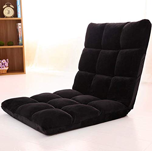 AHD Adjustable 14-Position Folding Memory Foam Floor Cushioned Padded Gaming Floor Sofa Chair (Black)