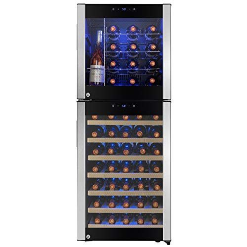 AKDY 50' 58-Bottle Touch Panel Dual Zone Chrome Wire Wood Shelves Freestanding Compressor Key Lock Black Silver Wine Cooler