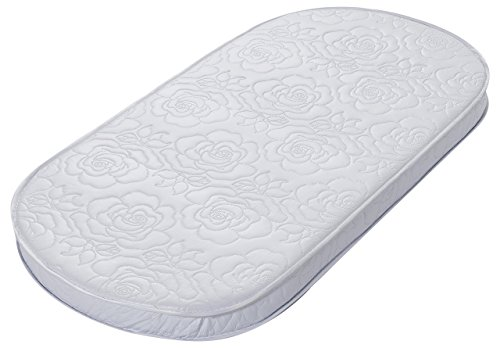 Big Oshi Waterproof Oval Baby Bassinet Mattress - Waterproof Exterior - Thick, Soft, Breathable Foam Interior - Comfy, Padded Design, Also Fits Portable Bassinets - 16' x 32' x 2'