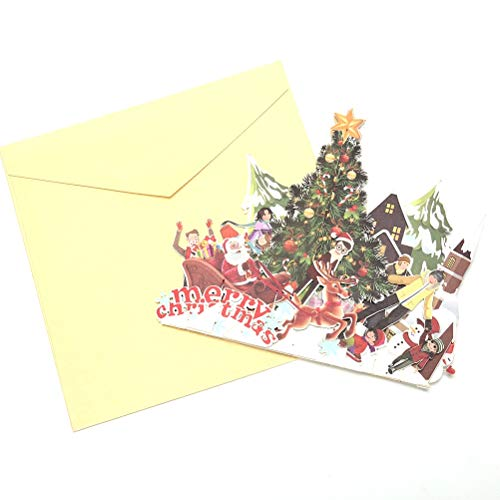 Christmas Cards 3D Pop up Cards Merry Christmas Origami Paper Laser Cut Postcards Gift Greeting Cards Handmade Blank Colourful Christmas Tree