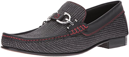 41Ic0gTN2gL Donald J Pliner, hand-made production, made in the mountains of Italy The Dacio is a metal bit slip on dress loafer Made of textured fabric upper with leather trim detail