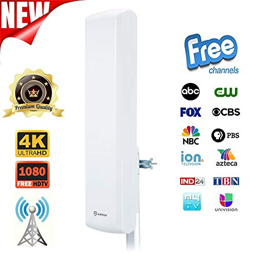 ANTOP HDTV Outdoor Indoor Flat Pannel TV Antenna for Digital TV with High Gain 60 Miles Range Multi-Directional Reception(Included 40ft Detachable Coaxial Cable)
