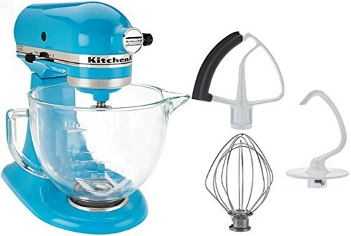 KitchenAid 5-Qt. Tilt-Head Stand Mixer with Glass Bowl and Flex Edge Beater - Crystal Blue