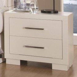 Coaster Home Furnishings Jessica Classic White Platform Queen Size Bed w Rails & Lights Bedroom 4pc Set Matching Dresser Mirror Nightstand Silver Tone Handle