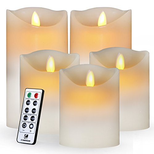 Comenzar Flameless Led Realistic Moving Set of 5(H4 4' 4' 6' 6' xD3.25) Flickering Candles With Remote Timer(Batteries Not Included)