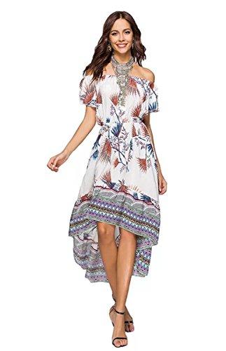 MCEDAR Women s Maxi Causal Bohemian Dress Floral Print Off Shoulder Long  Dress for Summer Beach Party. f4ae4ee35