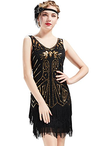 BABEYOND Women's Flapper Dresses 1920s V Neck Beaded ...