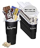 12-Piece Gift Tumblers filled with Hershey Bar & Popcorn /Awesome Thank You/Employee Appreciation Gifts/ Admin Office Gifts/Holiday Mug/Teacher Appreciation Gift/Corporate Thank You Travel Mugs/Nurse's Day Gifts